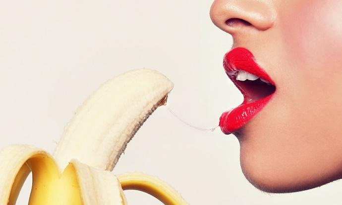 Sensual Woman Preparing to Eat a Banana