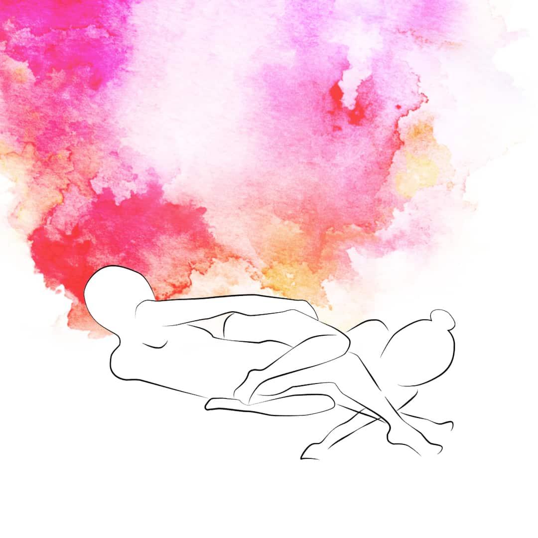 Sexstellung, die bei Knieschmerzen geeignet ist, bei der beide auf der Seite liegen, Oberkörper zueinander, mit den Köpfen in unterschiedliche Richtungen