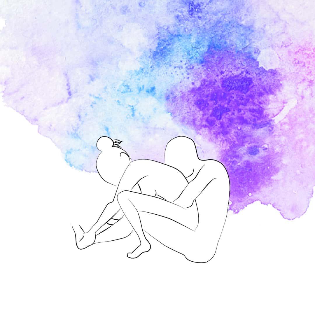 Sexstellung bei Knieschmerzen, bei der eine Person unten sitzt und die andere mit dem Rücken zu ihr sich auf sie drauf setzt