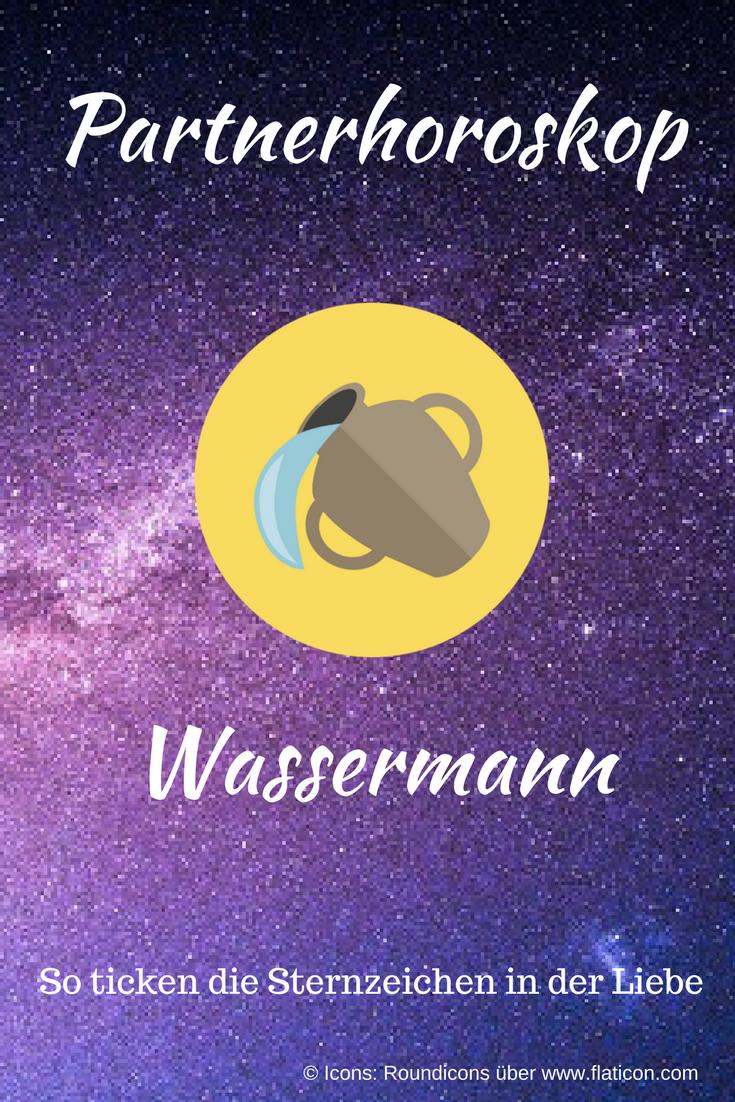 Partnerhoroskop Wassermann: Das sagen die Sterne über die Liebe! Abbildung des Sternzeichen-Icons auf Sterne-Hintergrund